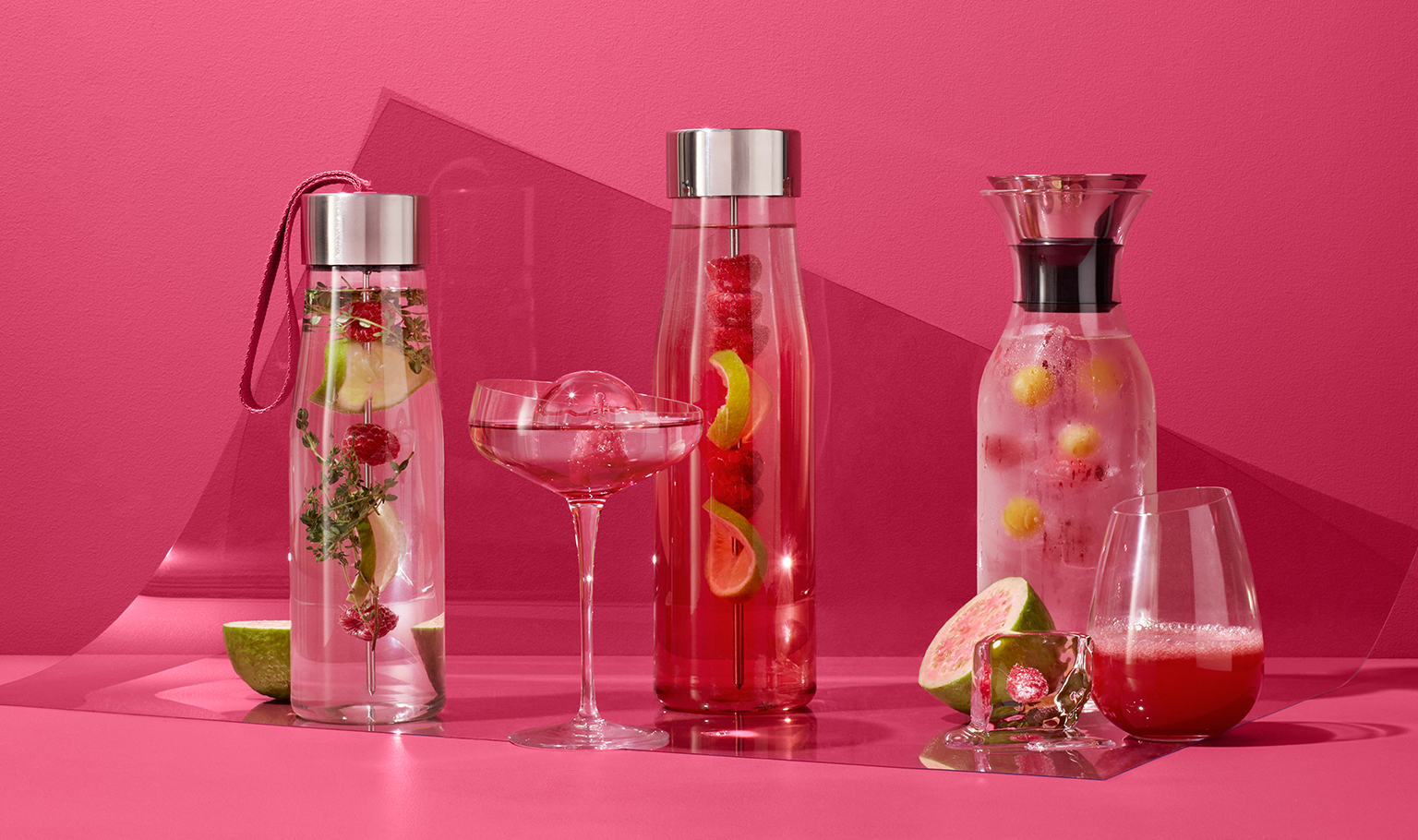 <p>Enjoy fresh, homemade lemonade with raspberries served in elegant glasses.<br />Click here to see our favourite lemonade recipies.</p>